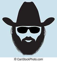 Bearded man silhouette - bearded man in a hat and sunglasses...