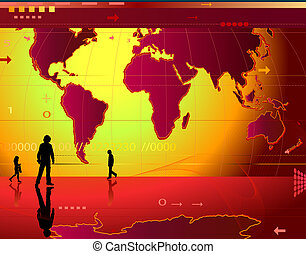 communication; abstract design background with people, world...