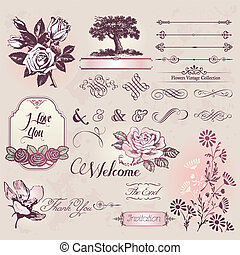 Set of vintage flowers and elements