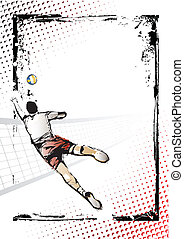 volleyball poster - illustration of volleyball player