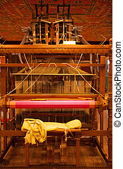 Rear Traditional Wooden Handloom - The weaver's chair on the...