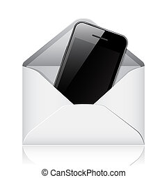 Modern phone in envelope