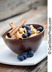 Breakfast muesli with dried fruits and seeds