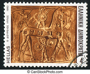 Troy horse - GREECE - CIRCA 1983: stamp printed by Greece,...
