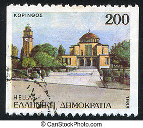 Corinth - GREECE - CIRCA 1988: stamp printed by Greece,...
