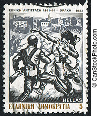 Resistance fighters in Thrace - GREECE - CIRCA 1982: stamp...