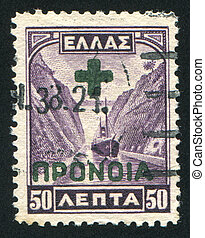 Corinth Canal - GREECE - CIRCA 1927: stamp printed by...