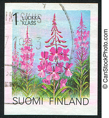 Rosebay willowherb - FINLAND - CIRCA 1990: stamp printed by...