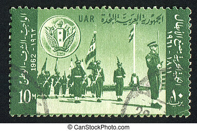 Military parade - EGYPT - CIRCA 1962: stamp printed by...