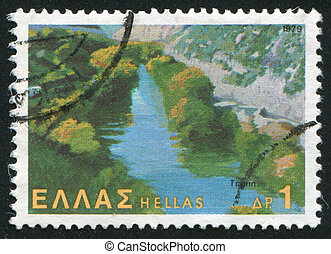 Tempe valley - GREECE - CIRCA 1979: stamp printed by Greece,...