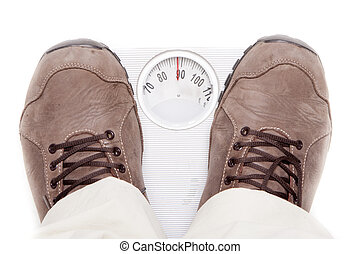 obesity - a person weighing themselves to know how many...