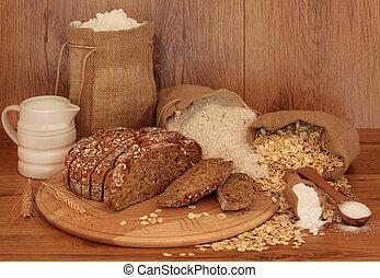 Sourdough Bread and Ingredients - Soda bread ingredients on...