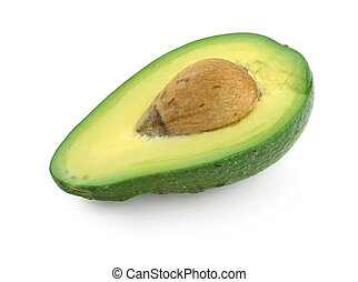half of avocado fruit, gentle natural shadow in front