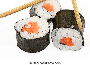 sushi and chopsticks on white 2 - sushi and chopsticks on...