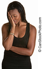 Shy Young Woman - Shy young black woman with face in hand
