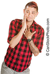 Bashful Man in Love - Bashful young European man in flannel...