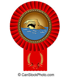 olympiad swimmer gold medal red tape - illustration olympiad...