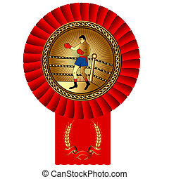 olympiad fisticuffs box gold medal red tape - illustration...