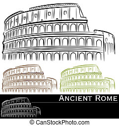 Rman Colosseum Set - An image of roman colosseum drawing set...