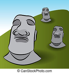 Easter Island Statues - An image of Easter Island Statues