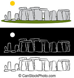 Stonehenge Drawing - An image of a stonehenge drawing set