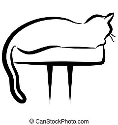Abstract Elegant Cat Sitting on Perch - An image of an...