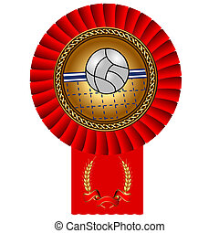 volleyball ball gold medal red tape - illustration...
