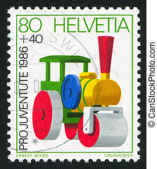 Steamroller - SWITZERLAND - CIRCA 1986: stamp printed by...