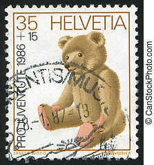 Teddy bear - SWITZERLAND - CIRCA 1986: stamp printed by...