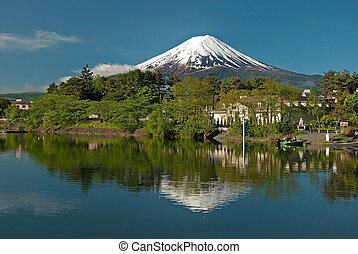 Mount Fuji from Kawaguchiko lake in Japan during the sunrise...