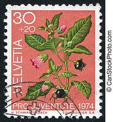 Belladonna - SWITZERLAND - CIRCA 1974: stamp printed by...