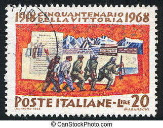 Mobilization - ITALY - CIRCA 1968: stamp printed by Italy,...
