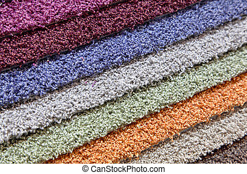 Samples of carpets in the shop - samples of carpets of...