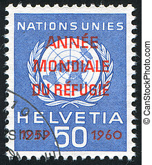 Nations Emblem - SWITZERLAND - CIRCA 1959: stamp printed by...