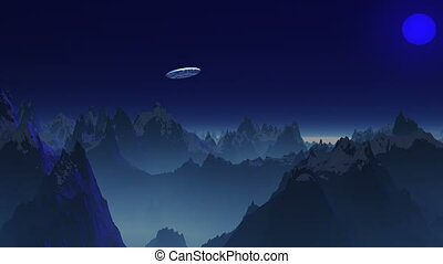 UFO in the sky of a blue planet.
