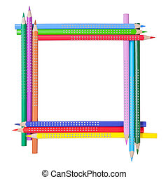 Frame from color pencils - Frame from color pencils isolated...
