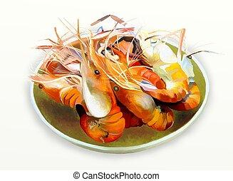 Grilled shrimp or Prawn BBQ - Delicious Grill king prawn BBQ...