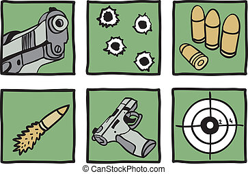 Collection of guns and bullets - hand drawn illustration