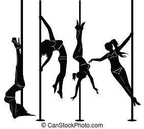 set of black silhouettes of dancing