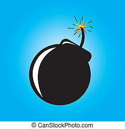 Bomb - bomb about to explode over blue background