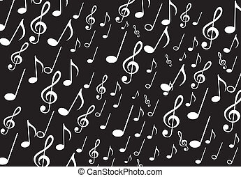musical notes over black background