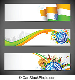 India Banner - illustration of set of banner for colorful...