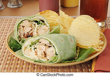 Chicken Caesar Sandwich Wrap - A chicken Caesar wrap with...