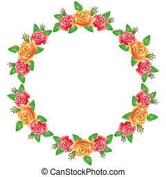 flores, redondo, marco