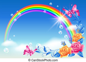 Rainbow in the sky - Rainbow, roses and butterfly