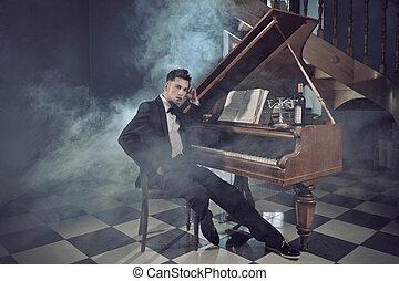 elegante, joven, hombre, piano