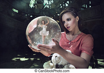 pensive girl dreams of ballet. Balerina in the ball