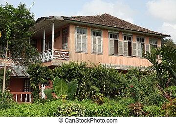 Run down plantation house Soa Tome - Stock Photo Run down...