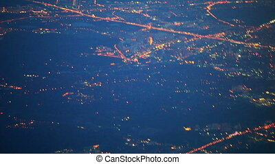 View from airplane of night Moscow