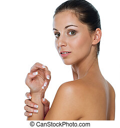 Beauty portrait of girl showing well-groomed hands isolated...